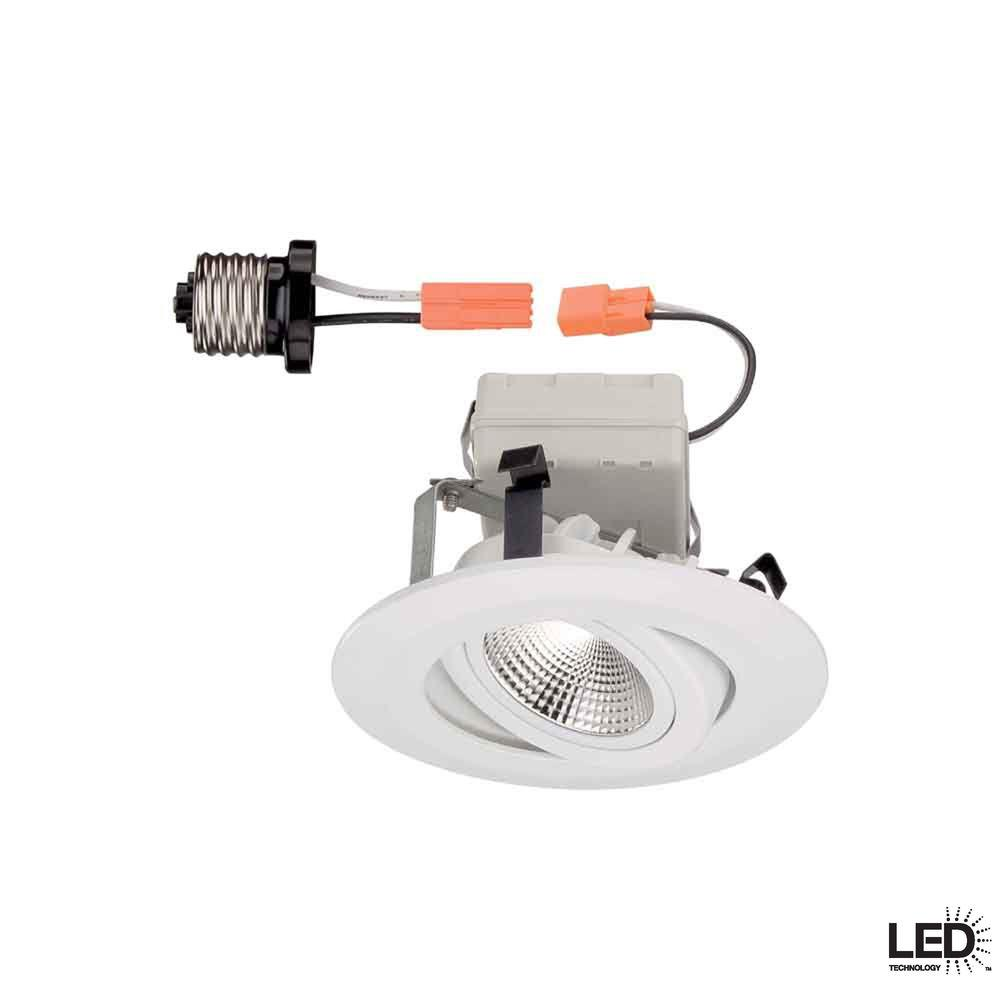 Commercial Electric 4 in. White LED Recessed Gimbal Trim