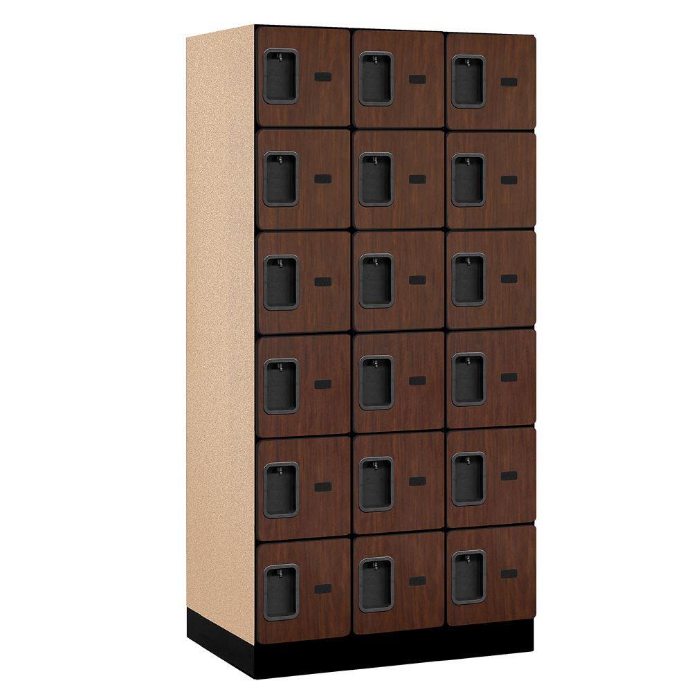 36000 Series 36 in. W x 76 in. H x 21 in. D 6-Tier Box Style Designer Wood Locker in Mahogany