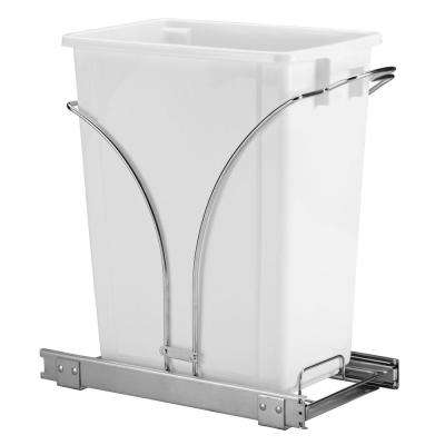 19 in. Single Sliding Trash Can in Chrome with 9 Gal. White Bin