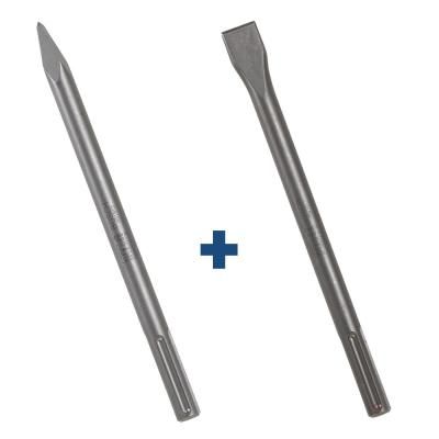 12 in. Hammer Steel SDS-Max Bull Point Plus 1 in. x 12 in. Hammer Steel SDS-Max Flat Chisel