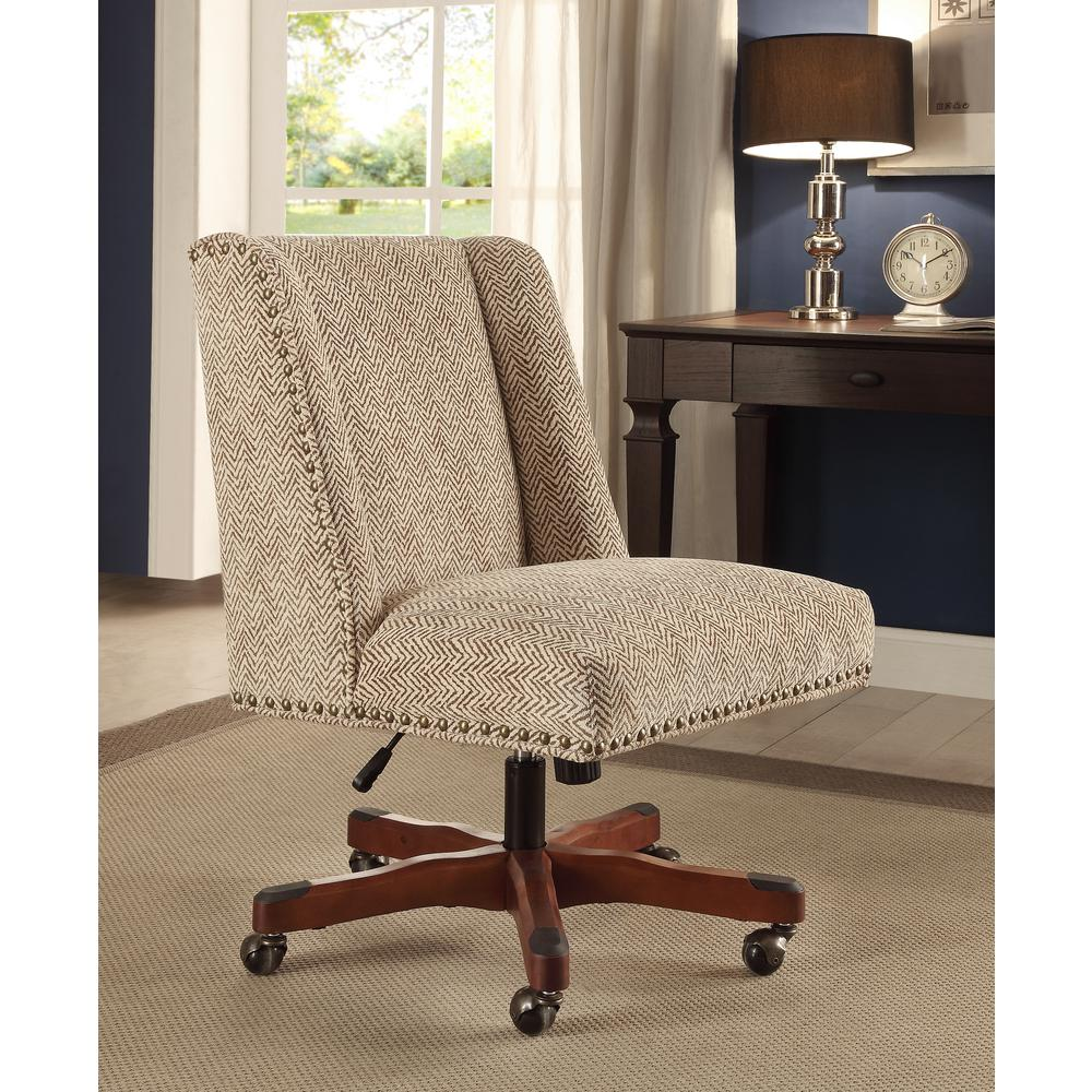 linon home decor draper light brown office chair with dark walnut wood base 178404brn01u the. Black Bedroom Furniture Sets. Home Design Ideas