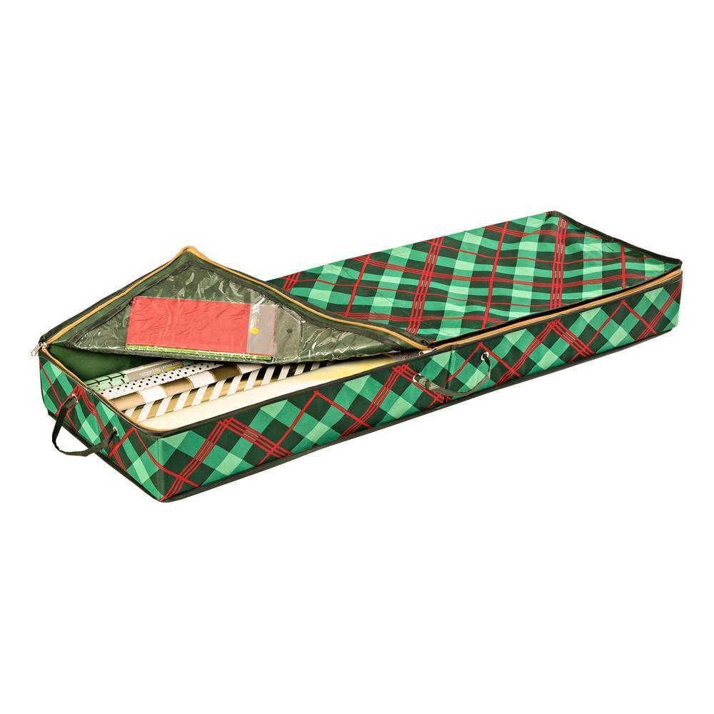 40.5 in. L x 13.5 in. W x 4.5 in. H Green Plaid Gift Wrap Organizer