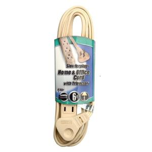 flat plug thin profile 3prong extension cord beige