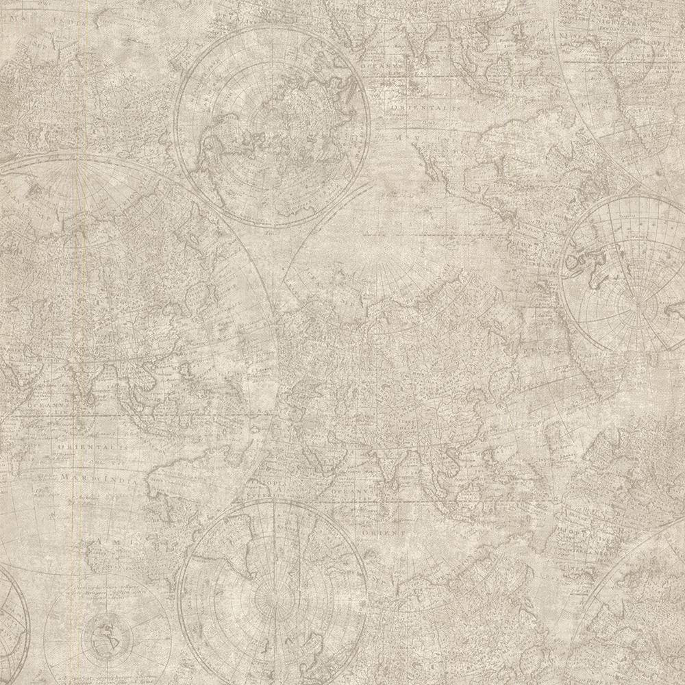 Beacon House Cartography Fog Vintage World Map Wallpaper Sample 2604-21240SAM
