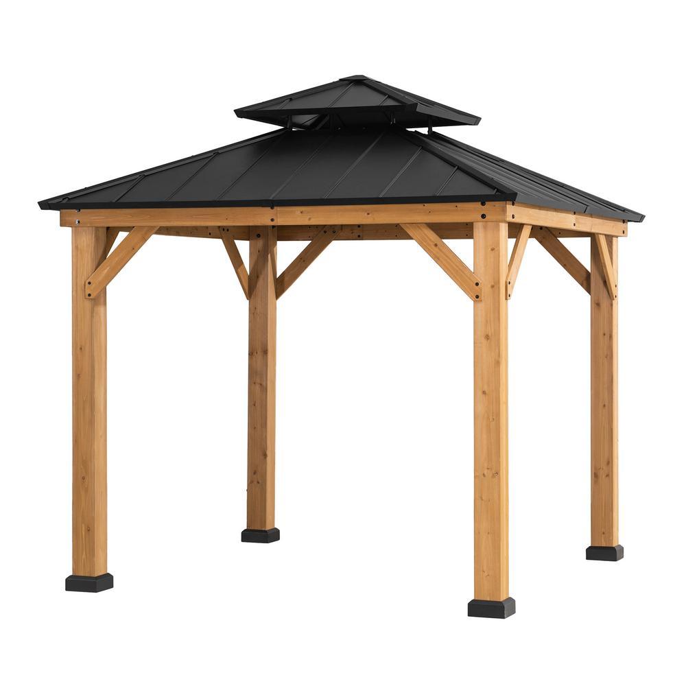 Archwood 8 ft. x 8 ft. Cedar Framed Gazebo with Steel Hardtop
