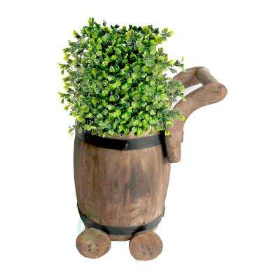 7.5 in. W x 7.8 in. D x 10 in. H Wood Small Barrel Planter Cart