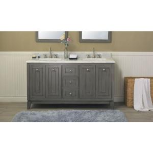 61 inch Vanity in Silver Gray with Marble Vanity Top in Carrara White with White Basin by