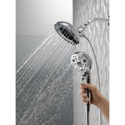 In2ition Two-in-One 5-Spray 6.6 in. Dual Wall Mount Fixed and Handheld H2Okinetic Shower Head in Chrome