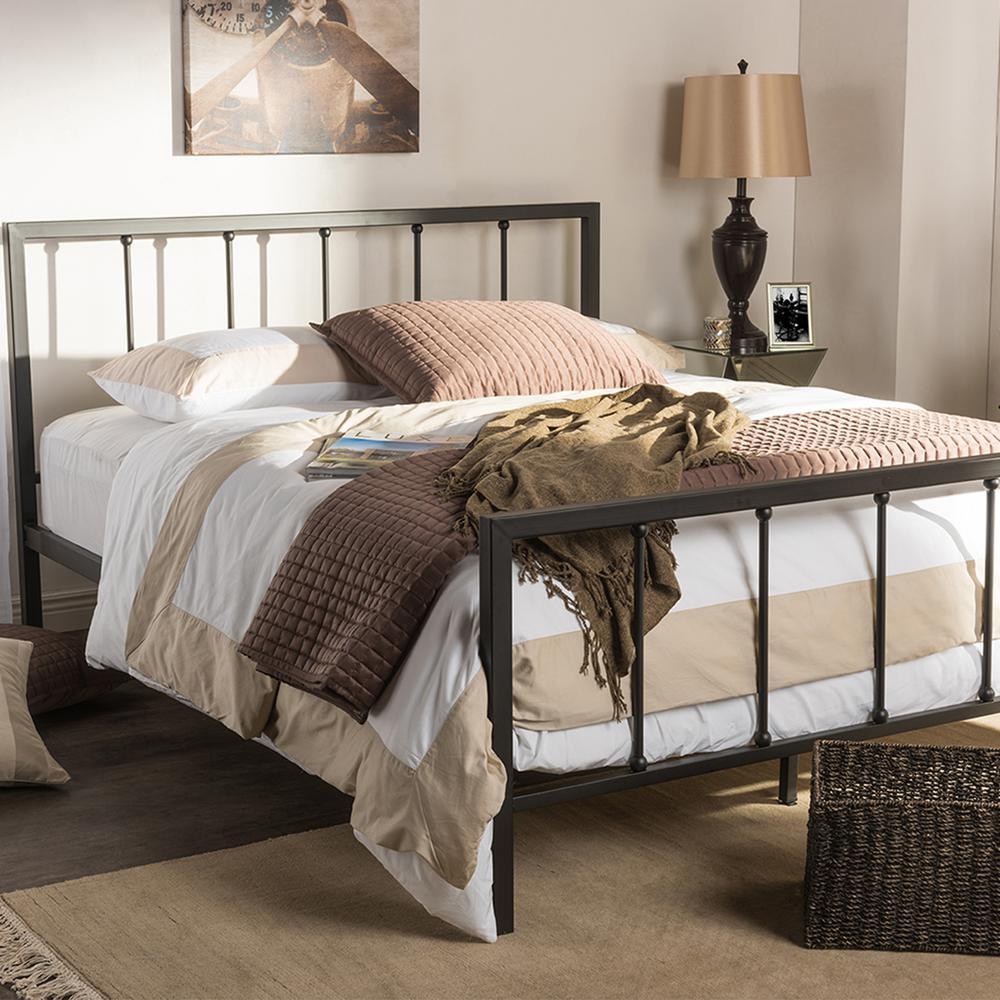 Amy Vintage Industrial Black Finished Metal Queen Size Platform Bed
