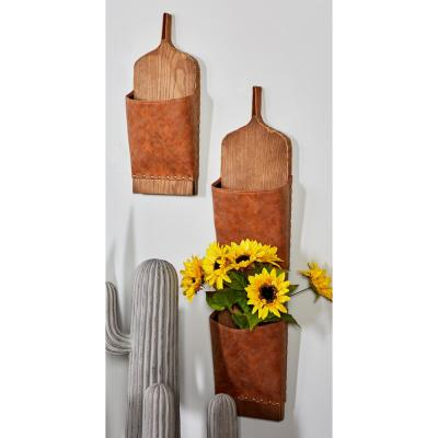 Litton Lane Brown Wood and Leather Wall Mounted Mail Holders (Set of 3), Brown/Tan