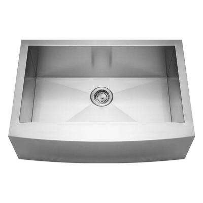Noah's Collection Front Apron Brushed Stainless Steel 30 in. 0-Hole Single Bowl Kitchen Sink Finish