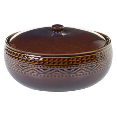 Multi-Colored 88 oz. Aztec Brown Bean Pot