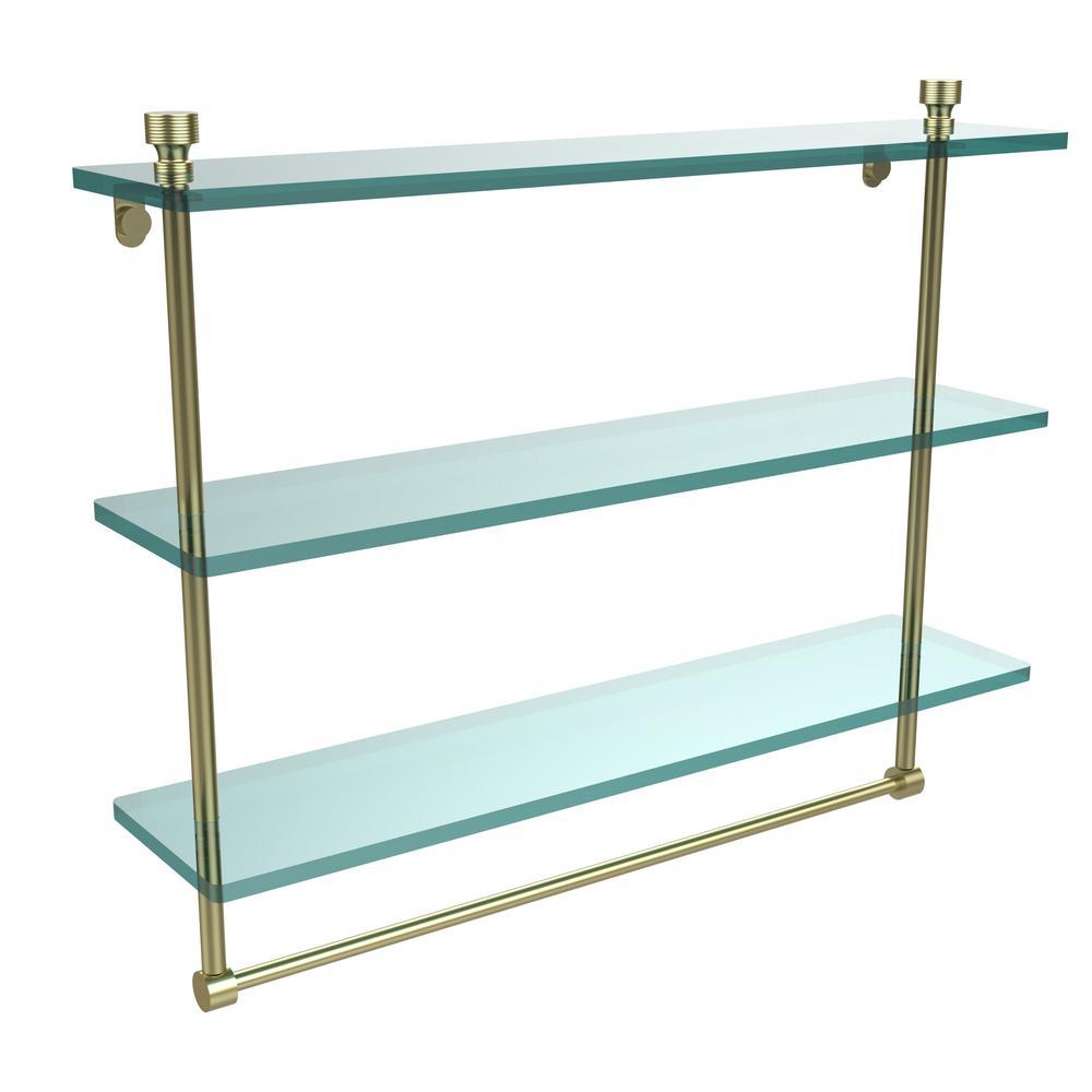 Foxtrot 22 in. L  x 18 in. H  x 5 in. W 3-Tier Clear Glass Bathroom Shelf with Towel Bar in Satin Brass