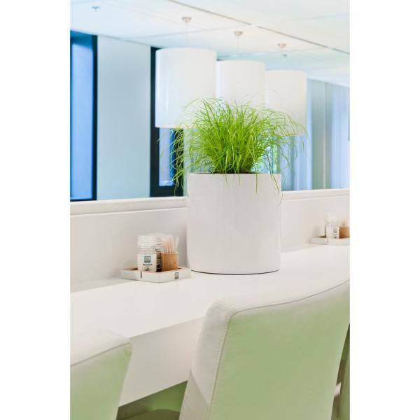 Small 11.8 in. Tall Glossy White Max Fiberstone Indoor Outdoor Modern Round Planter