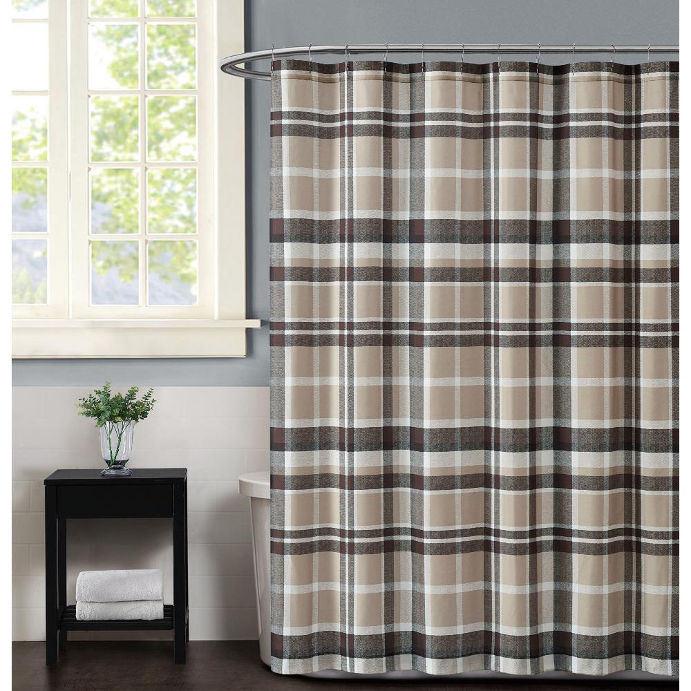 Paulette Plaid Taupe Shower Curtain