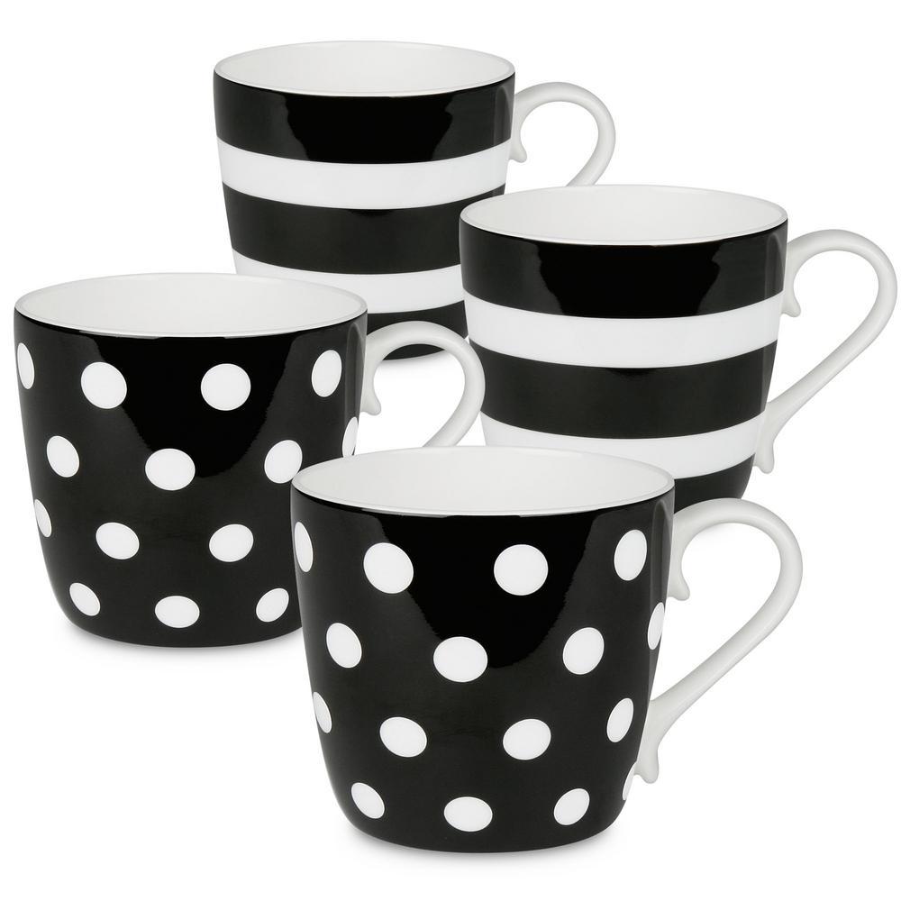 Konitz 4-Piece Assorted Polka Dots and Stripes Black Bone China Mug Set