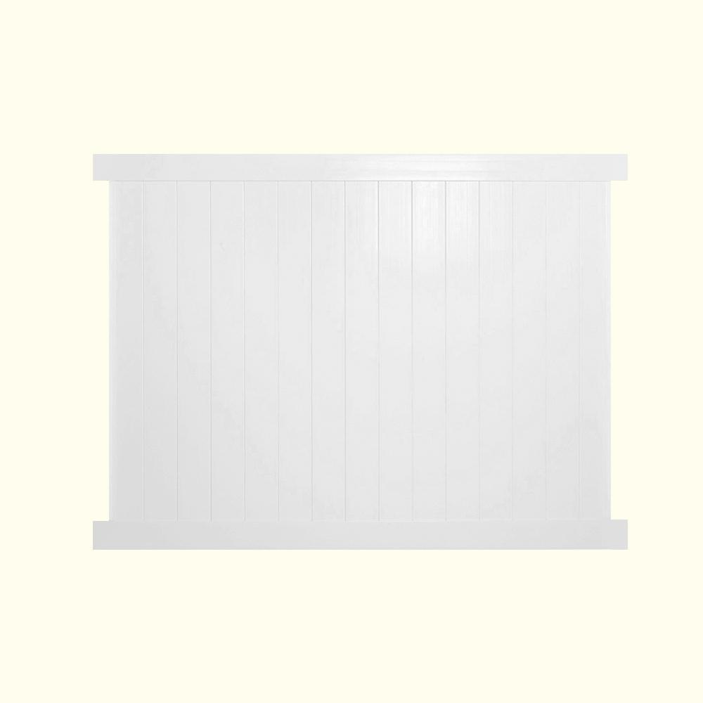Pembroke 6 ft. H x 8 ft. W White Vinyl Privacy Fence Panel Kit