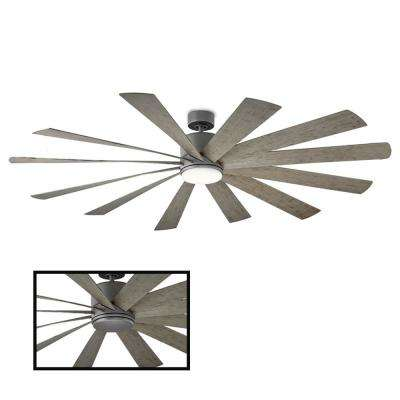 Windflower 80 in. LED Indoor/Outdoor Graphite 12-Blade Smart Ceiling Fan with 3000K Light Kit and Wall Control