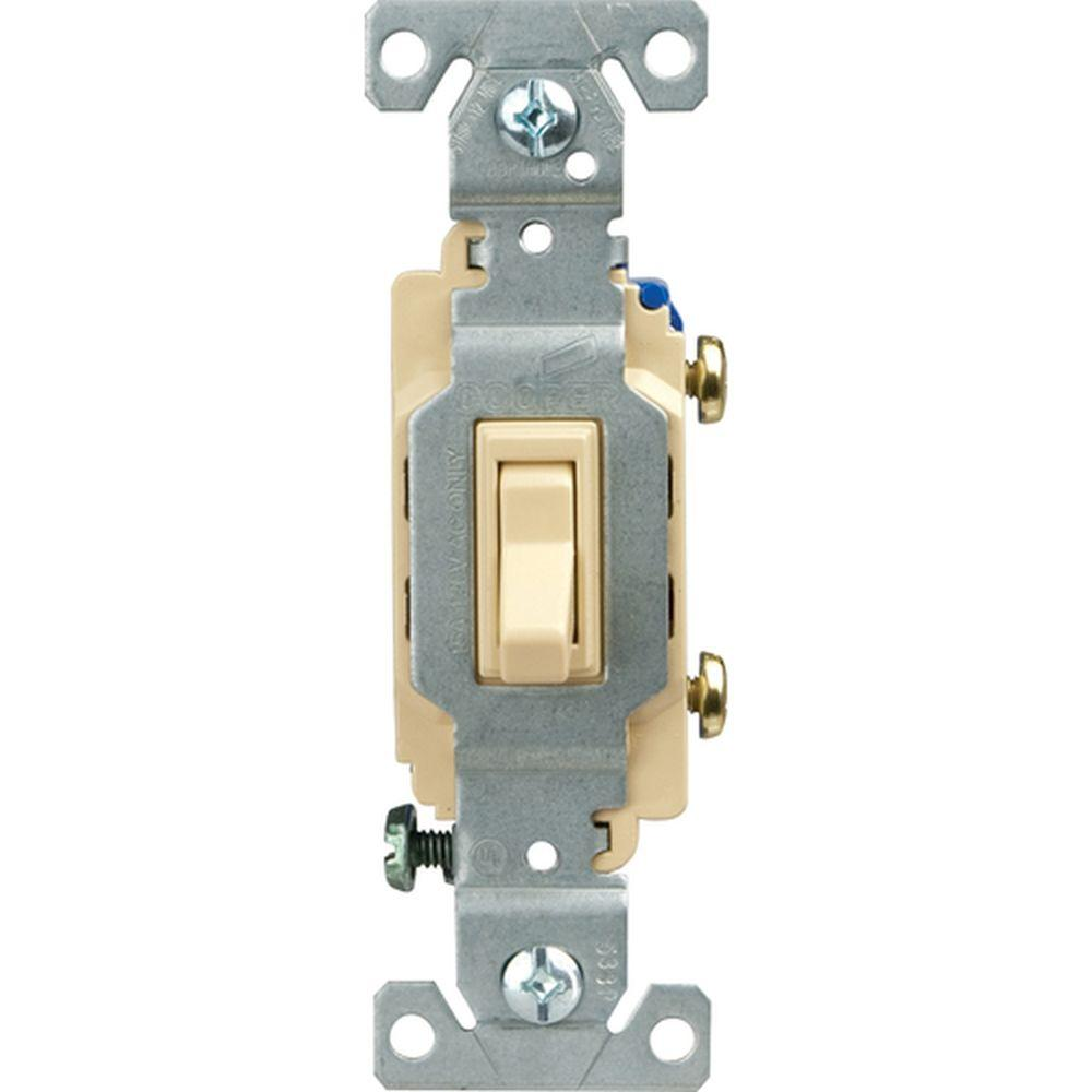Eaton Standard Grade 15 Amp Single Pole Toggle Switch with Side and Push Wiring, Ivory