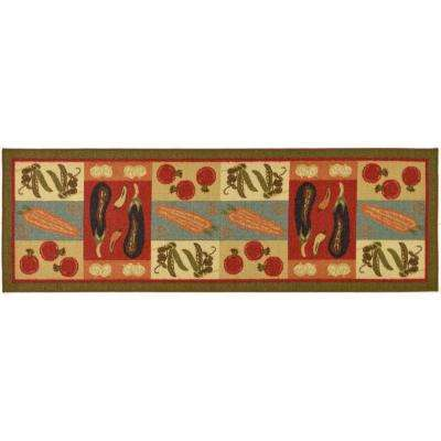Sara's Kitchen Collection Vegetables Design Dark Olive Green 1 ft. 8 in. x 4 ft. 11 in. Kitchen Rug Runner