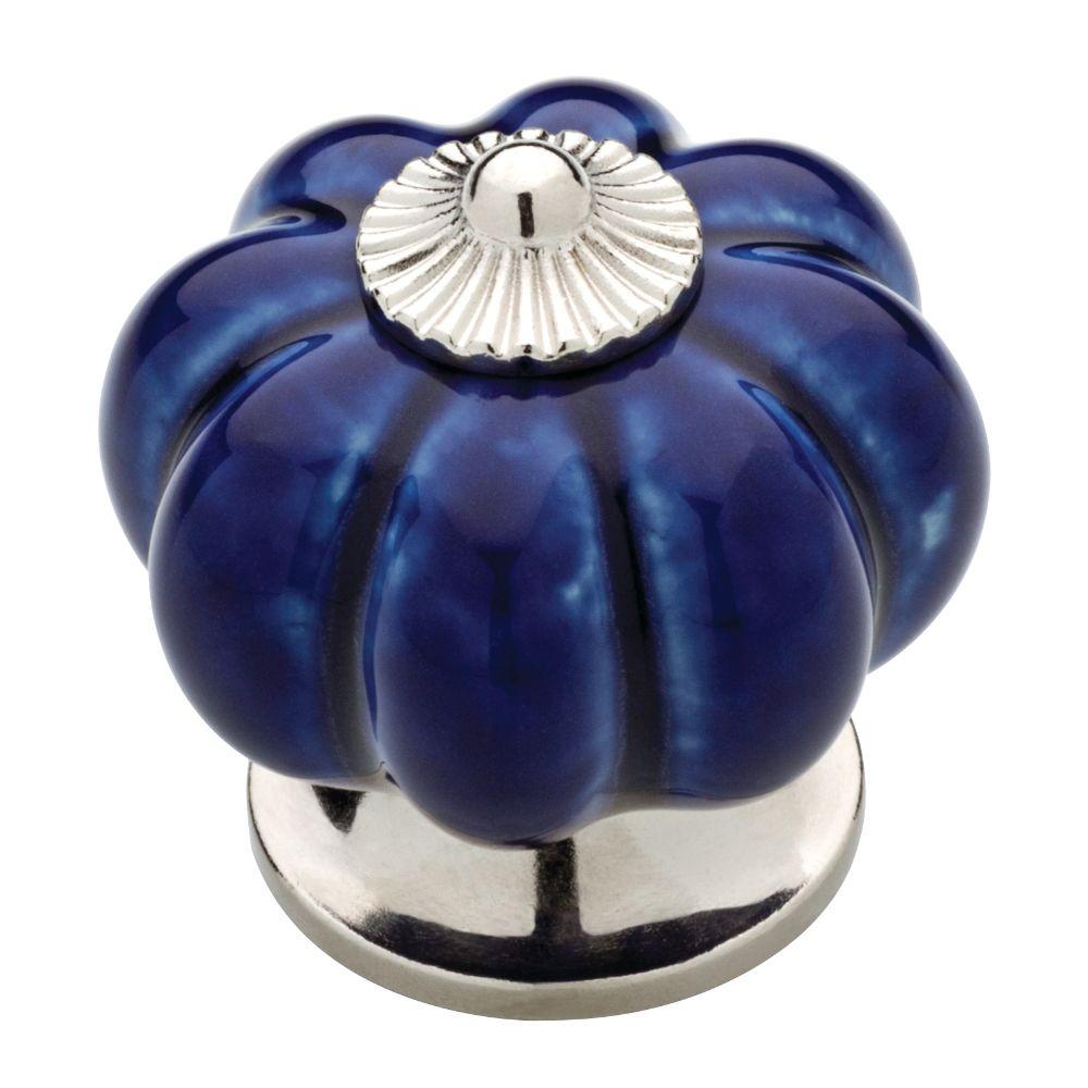 Liberty 1-1/2 in. (38mm) Chrome and Navy Ceramic Melon Cabinet Knob