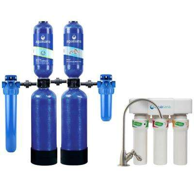 Rhino 5-Stage 600,000 Gal. Whole House Water Filtration and Softener System and 3-Stage Max Flow Under Counter System