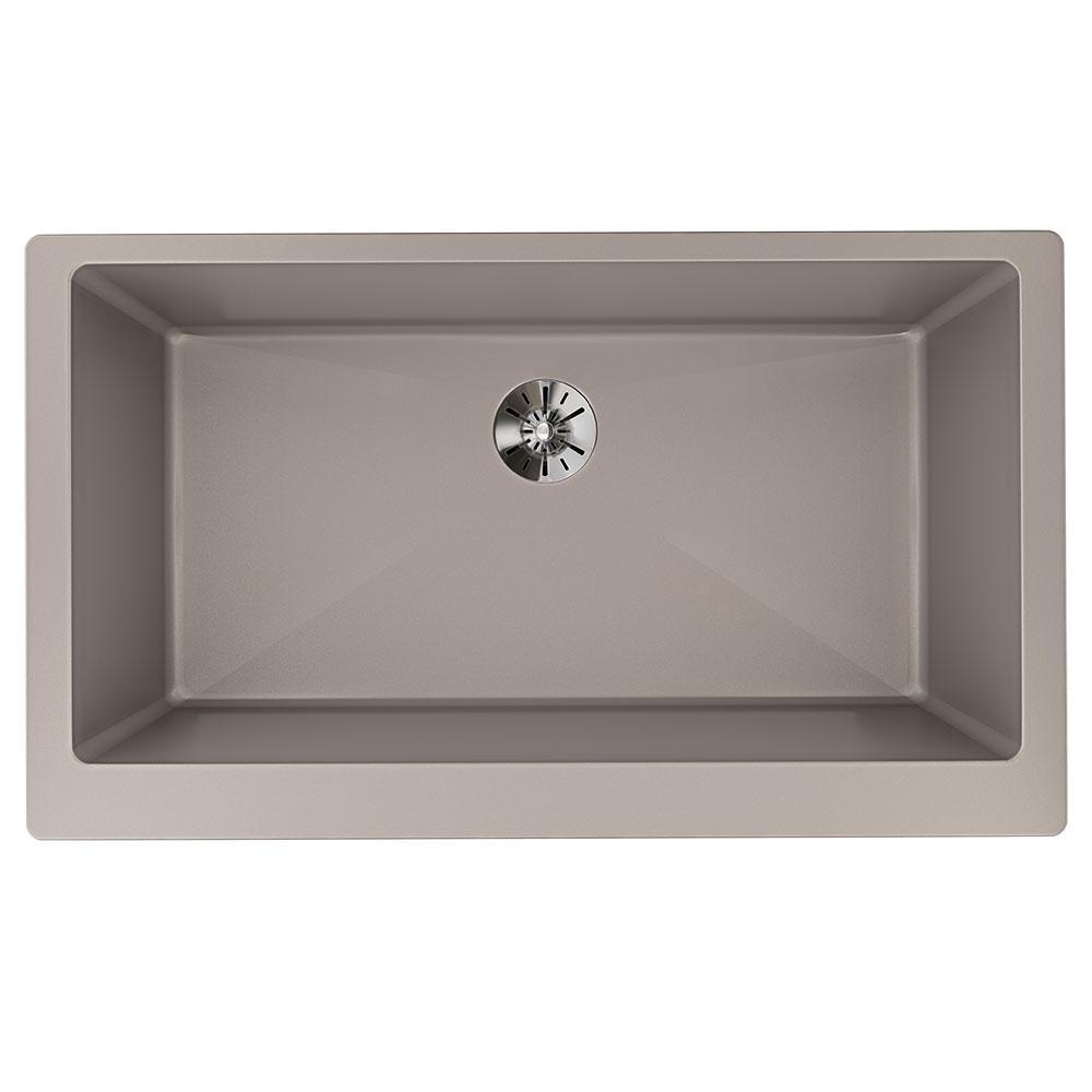 Luxe Farmhouse Quartz 36 in. Single Bowl Kitchen Sink in Silvermist with Perfect Drain
