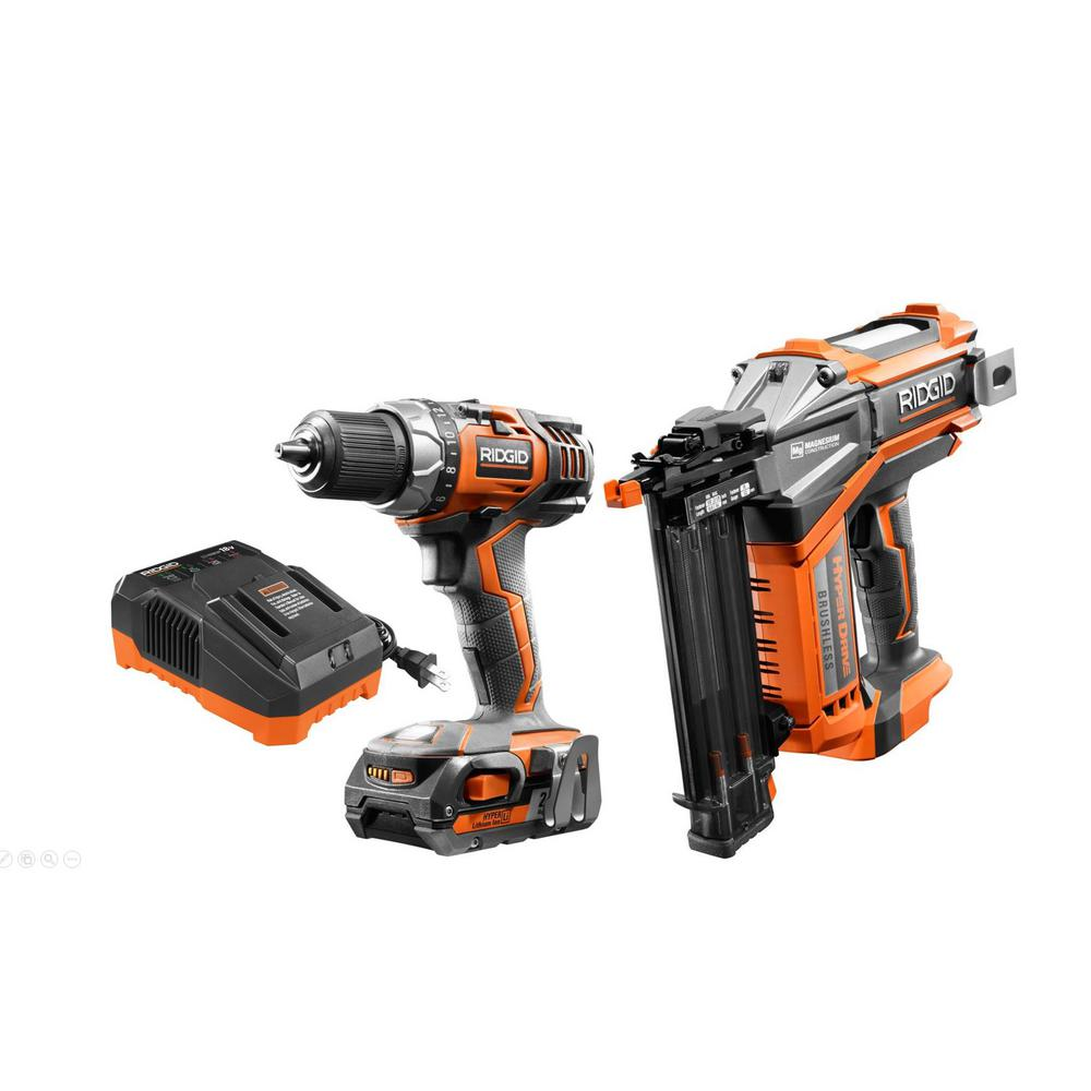 RIDGID 18-Volt Cordless Drill/Driver and Brad Nailer Combo Kit with (1) 2.0 Ah Battery and Charger