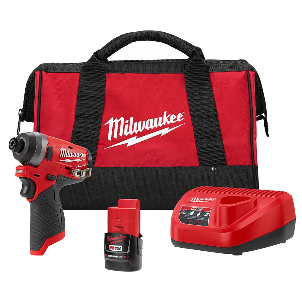 Milwaukee M12 FUEL 12-Volt Lithium-Ion Brushless Cordless 1/4 in. Hex Impact Driver Kit with One 2.0 Ah Battery, Charger and Bag