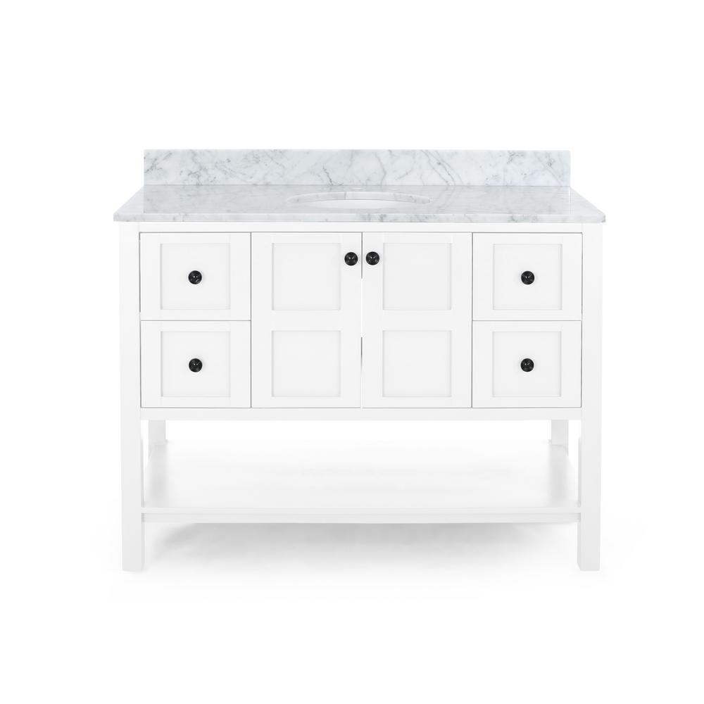Noble House Jaeden 48 in. W x 22 in. D Bath Vanity with Carrara Marble Vanity Top in White with White Basin