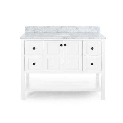 Jaeden 48 in. W x 22 in. D Bath Vanity with Carrara Marble Vanity Top in White with White Basin