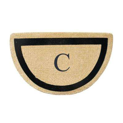 A1HC First Impression Engineered Half Round 24 in. x 36 in. Coir Monogrammed C Door Mat