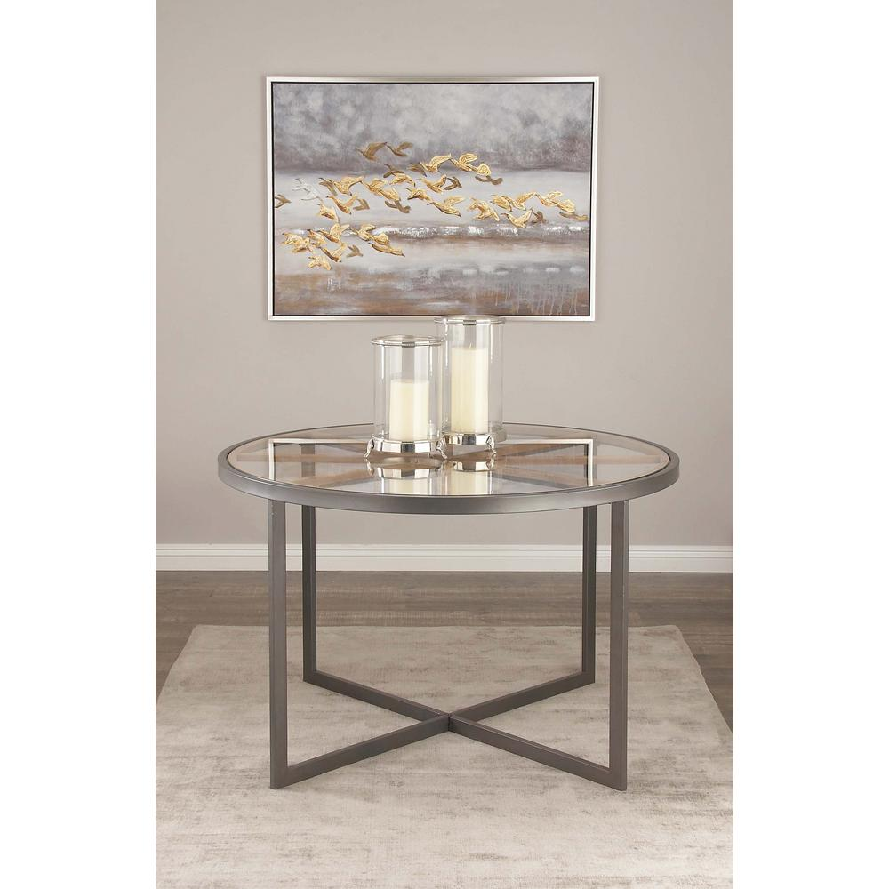 Modern 47 In. Iron And Glass Dining Table-44398