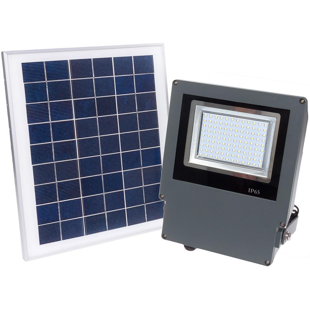 5-Watt White Solar Integrated LED Outdoor Wall Mount Flood Light
