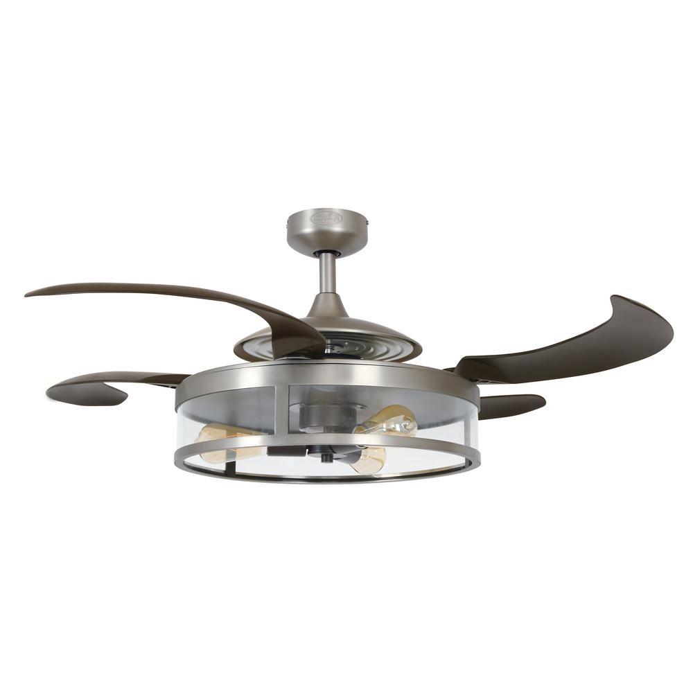 Fanaway Classic Matt Nickel and Espresso Retractable 4-Blade 48 in. 3-Light Ceiling Fan