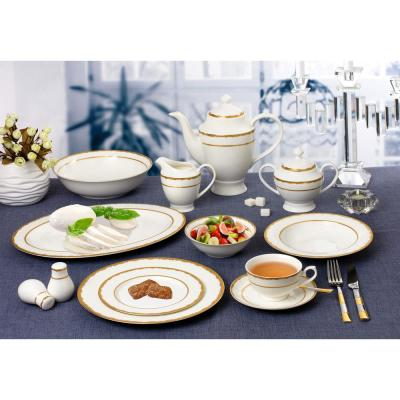 57-Piece Patterned Gold Accent Bone China Dinnerware Set (Service for 8)