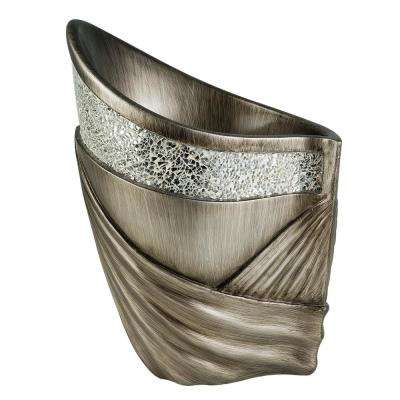 Andromeda Small Sloped Silver Polyresin Decorative Vase