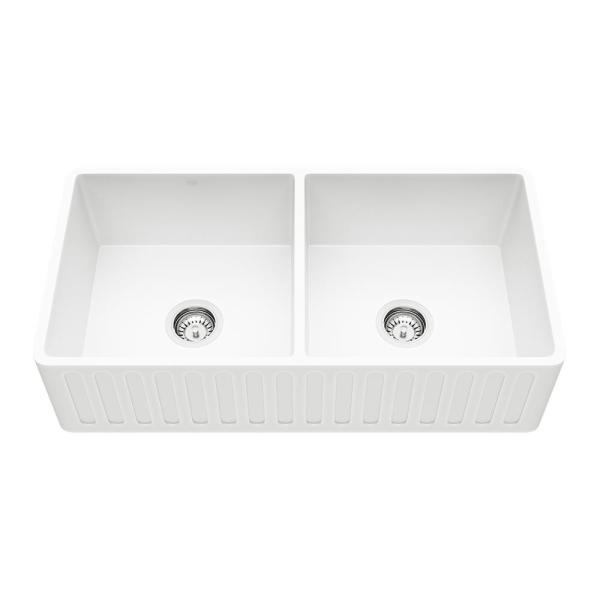 Matte Stone White Composite 36 in. Double Bowl Reversible Slotted Farmhouse Apron-Front Kitchen Sink with 2 Strainers