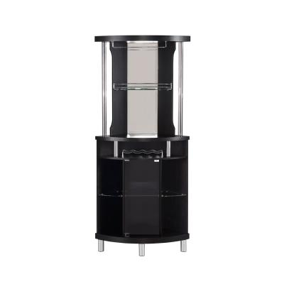 Home Source 72 in. Height and 31.5 in. Wide Black Corner Bar