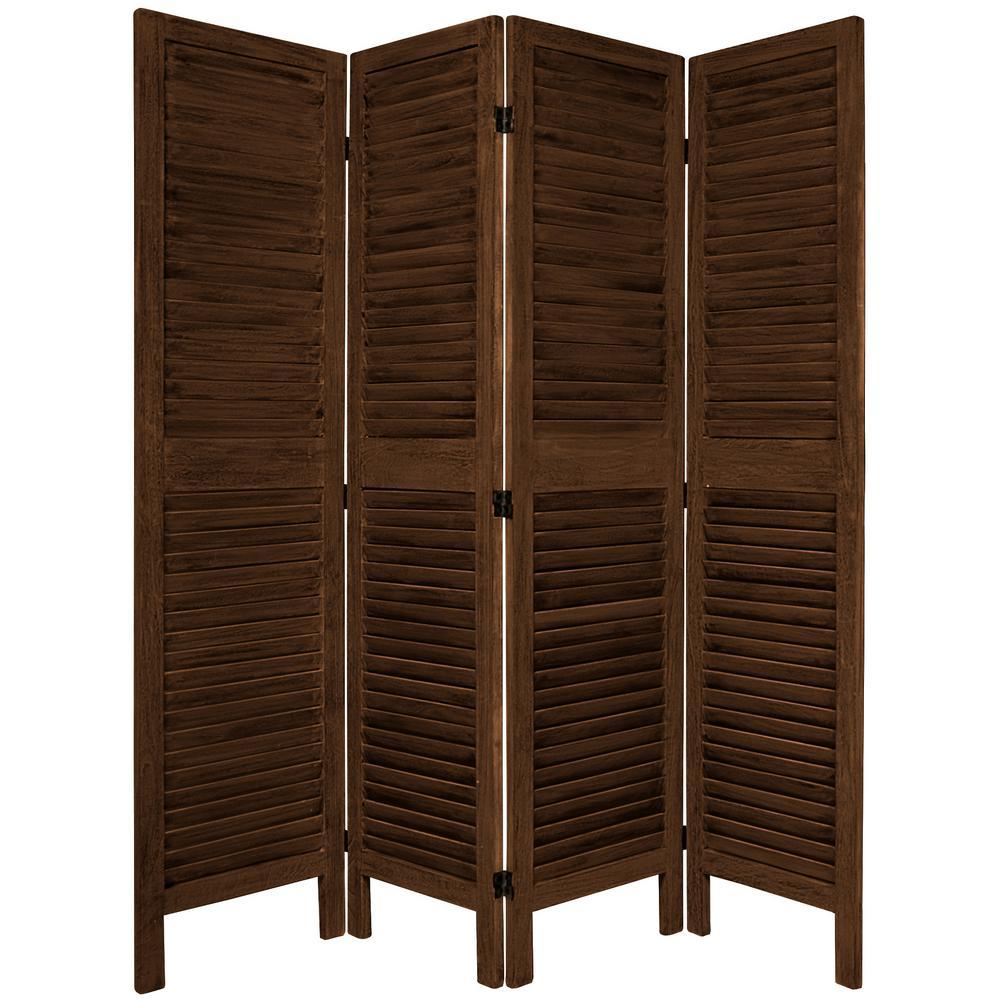 6 ft. Burnt Brown Venetian 4-Panel Room Divider