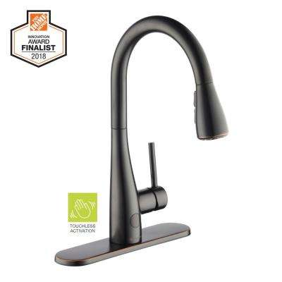 Nottely Touchless Single-Handle Pull-Down Sprayer Kitchen Faucet in Bronze