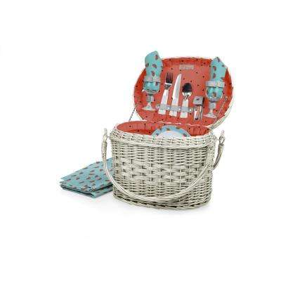 Watermelon Collection Red Romance Willow Wood Picnic Basket