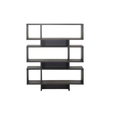 52.6 in. Dark Brown Wood 6-shelf Etagere Bookcase with Open Back
