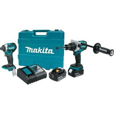 18-Volt LXT Lithium-Ion Brushless Cordless Combo Kit (2-Piece)  Hammer Drill/Impact Driver w/ (2) Batteries(5.0Ah), Case