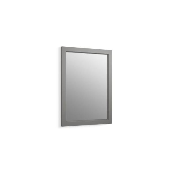 20 in. W x 26 in. H Recessed or Surface Mount Anodized Aluminum Medicine Cabinet with Frame in Mohair Grey