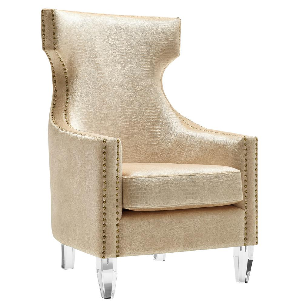 Tov Furniture Gramercy Gold Croc Velvet Wing Chair