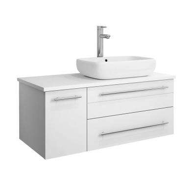 Lucera 36 in. W Wall Hung Bath Vanity in White with Quartz Stone Vanity Top in White with White Basin