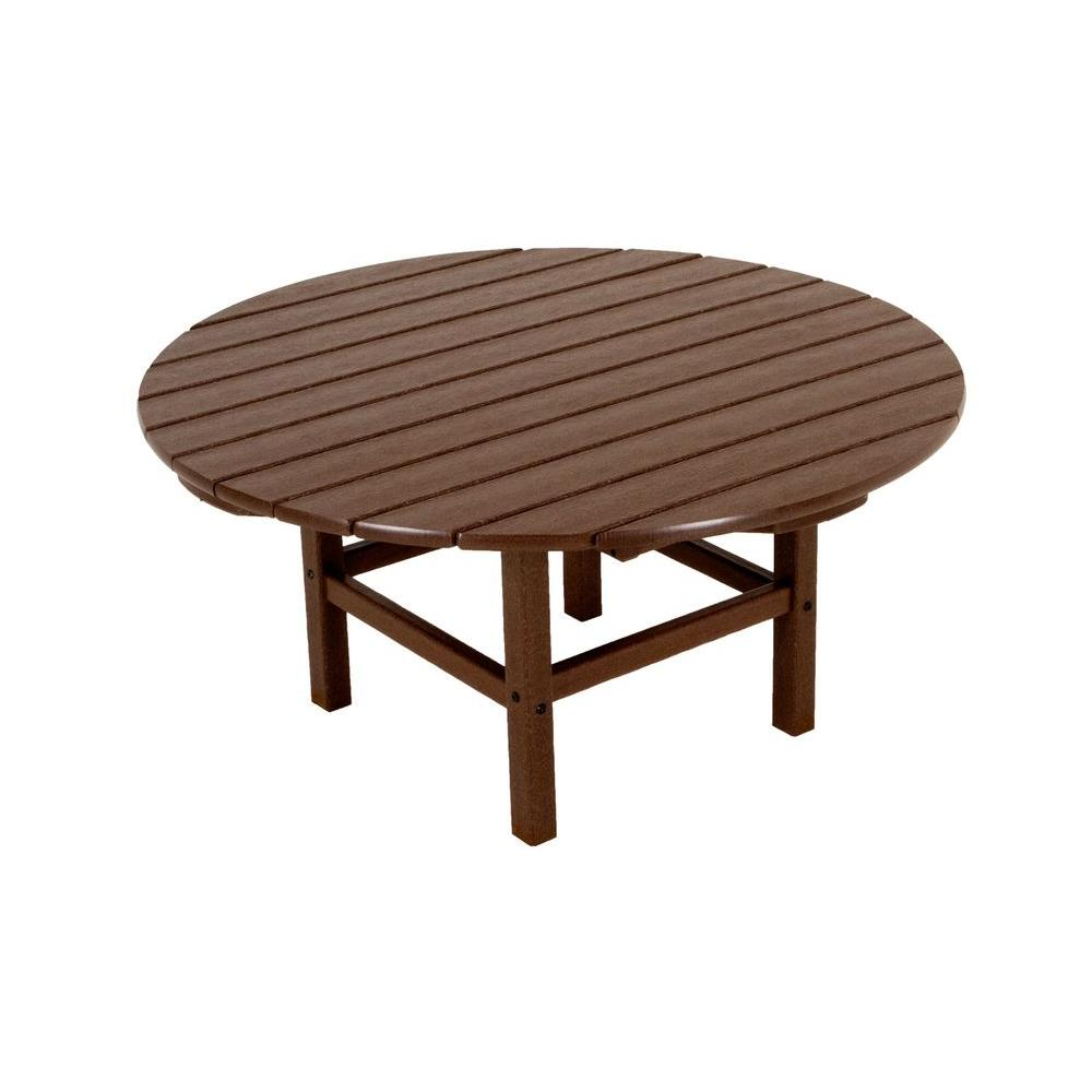 Mahogany 38 in. Round Patio Conversation Table