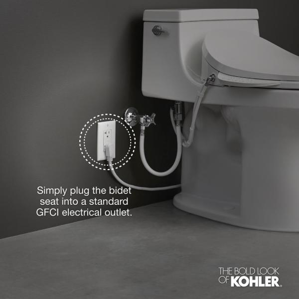 Kohler C3 200 Electric Bidet Seat For Elongated Toilets In White With In Line Heater K 4709 0 The Home Depot