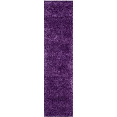Milan Shag Purple 2 ft. x 8 ft. Runner Rug